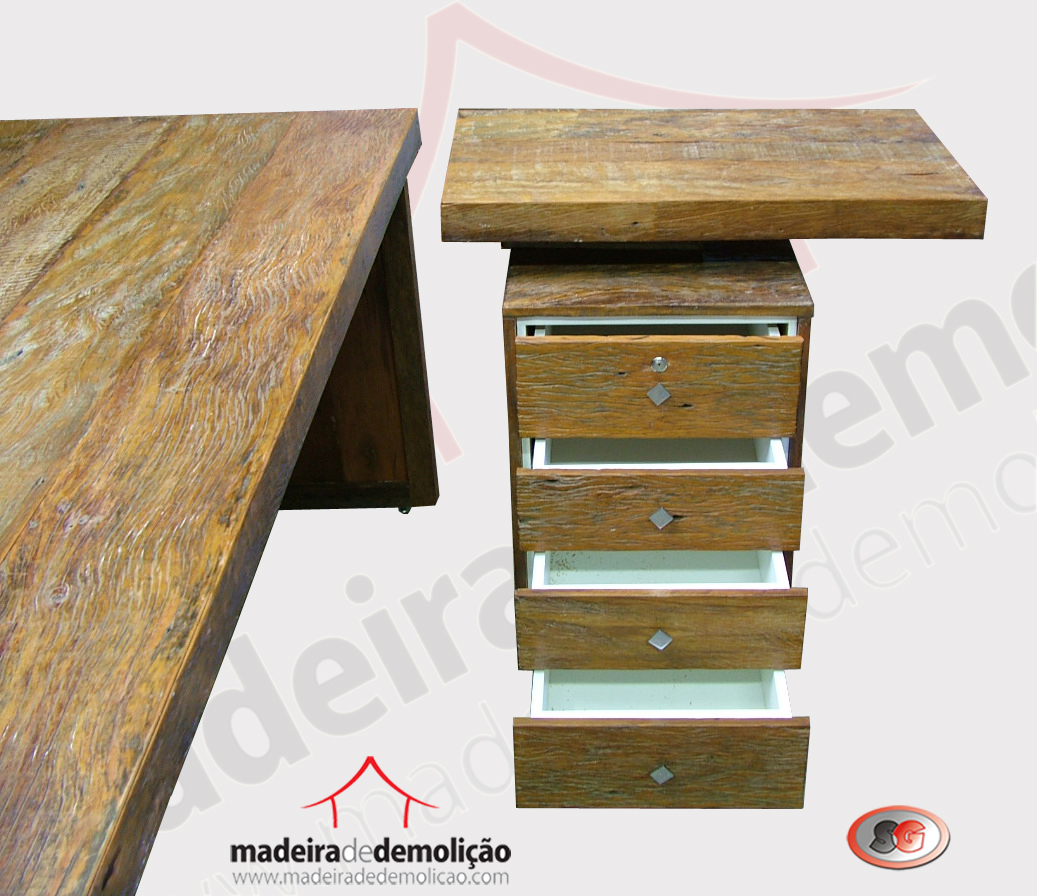 Mesa de escritório em madeira de demolição – Peroba Rosa  #926E39 1037x896