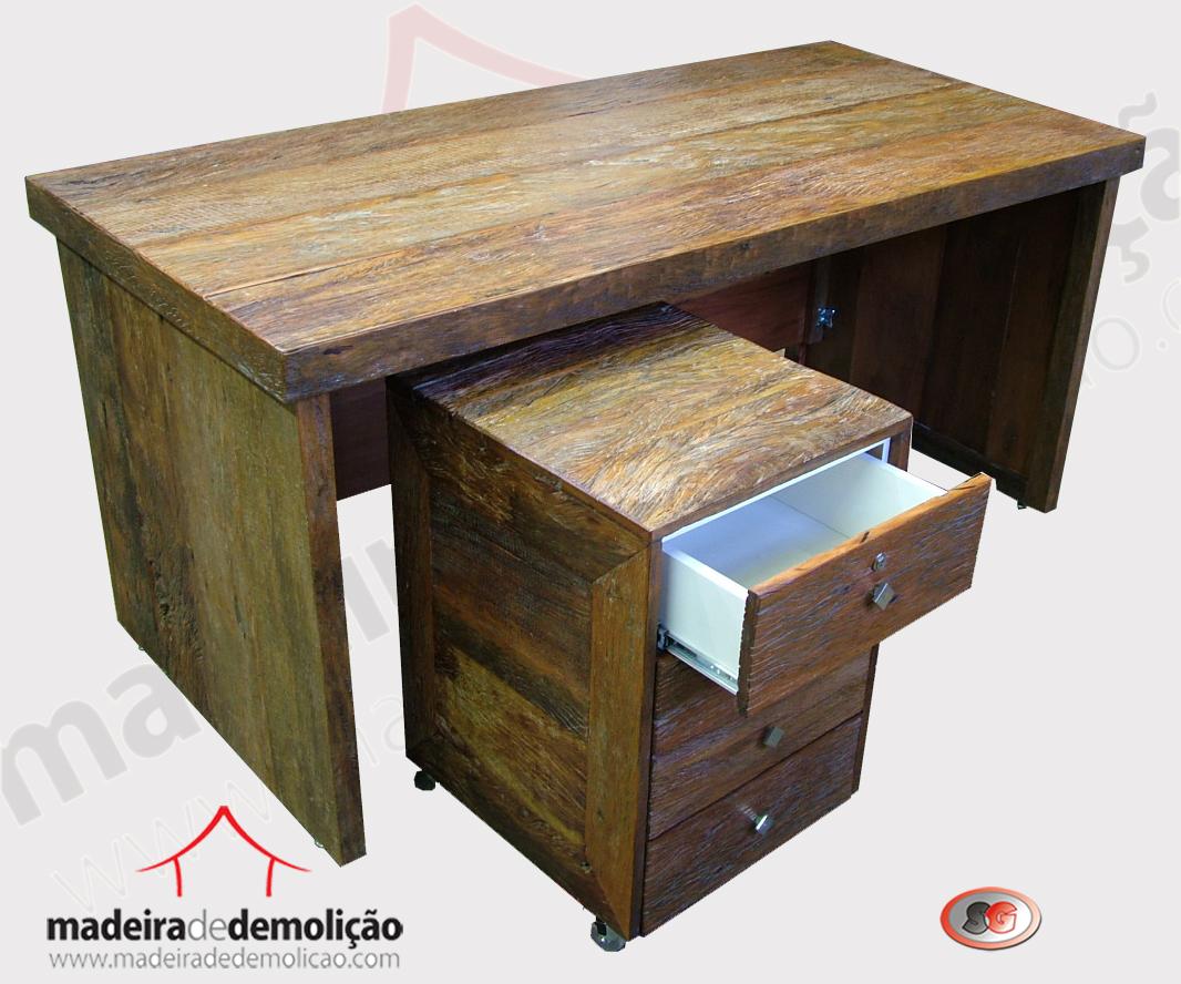 Mesa de escritório em madeira de demolição – Peroba Rosa  #926A39 1066x888