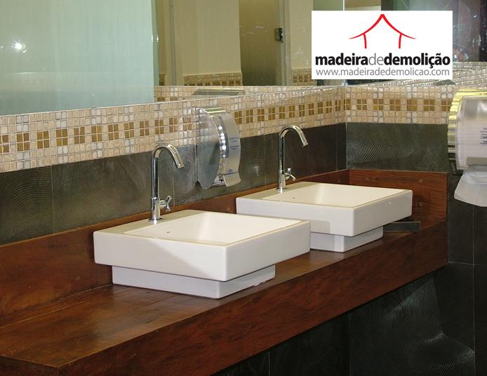tampo para pia  Madeira de Demolição -> Pia De Banheiro Em Madeira Rustica