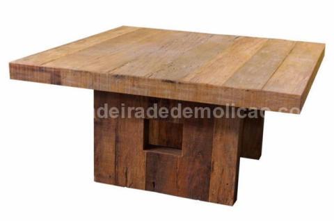 Mesa em Madeira de Demolição Quadrada